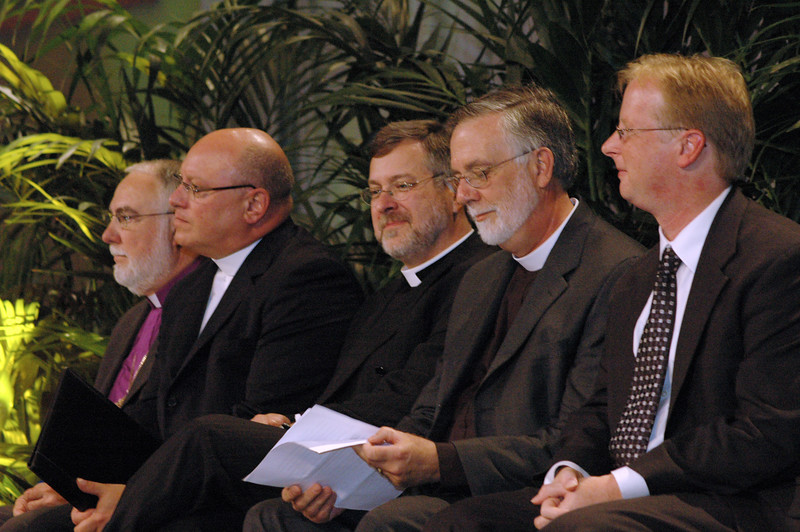 Bishop Christopher Epting, deputy for ecumenical and interfaith relations, Episcopal Church U.S.A., The Rev. Carlos Malone, assisted stated clerk for the Presbyterian Church (U.S.A.), The Rev. Paul Schreck, ELCA Office of the Secretary, The Rev. Gary Harke, executive director, Pennsylvania Council of Churches, and Dr. Michael Trice, ELCA Ecumenical and Inter-Religious Relations.