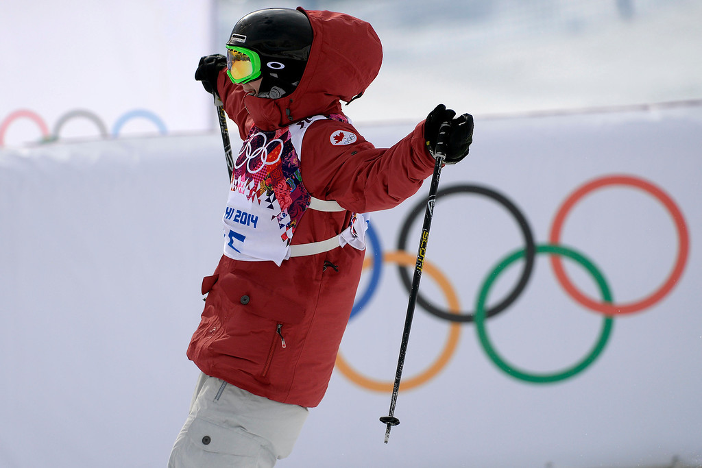 . Canada\'s Kim Lamarre celebrates finishing her run and earning a silver medal during the women\'s ski slopestyle final. Sochi 2014 Winter Olympics on Tuesday, February 11, 2014. (Photo by AAron Ontiveroz/The Denver Post)