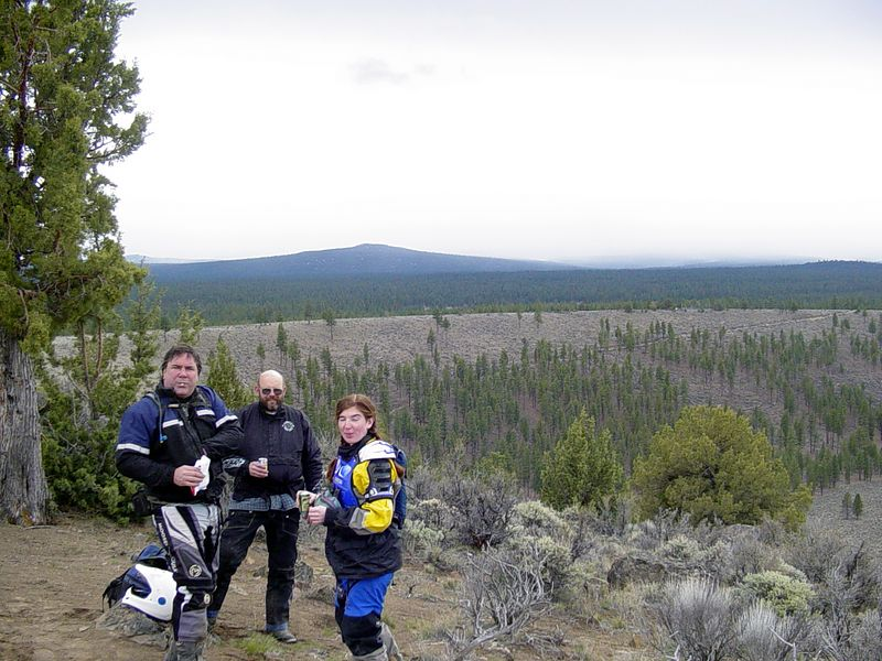 """<font size=""""+2"""">John, Rick and Laura enjoying lunch break and the view over """"Hole in the Ground""""..  Why is it when I say """"smile"""" that a smile is never what you see after the photo is developed?"""
