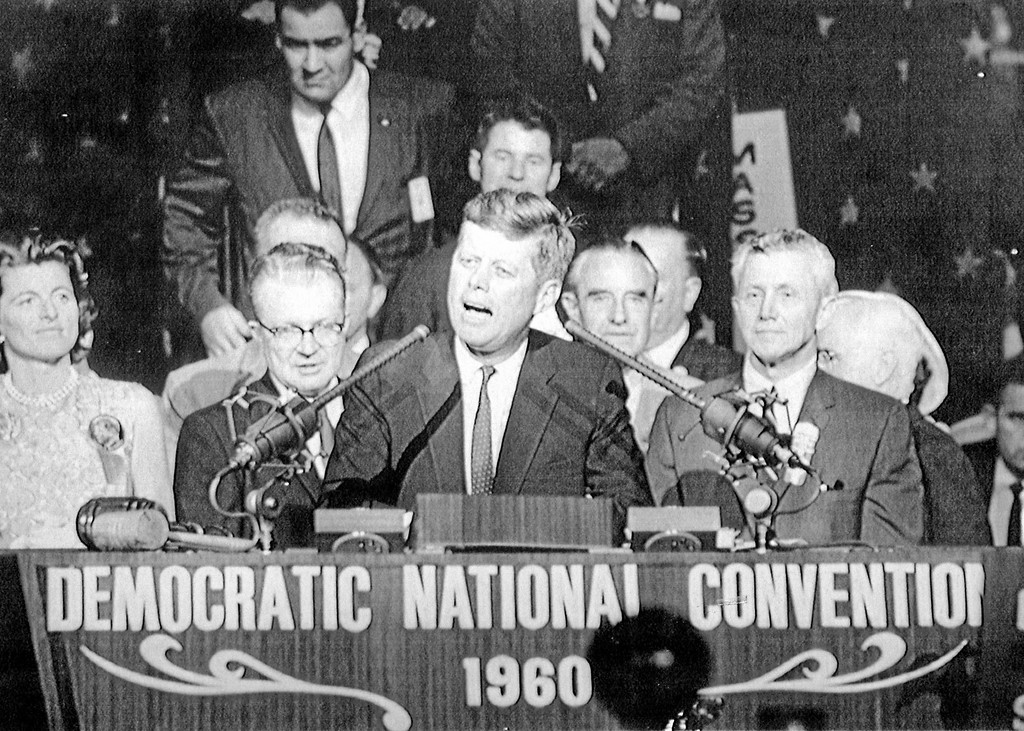 . John F. Kennedy gives his nomination speech at the 1960 Democratic National Convention in Los Angeles. (Associated Press)