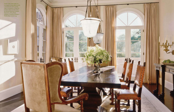 Darryl Carter interior design project featuring our dining table. Veranda magazine.