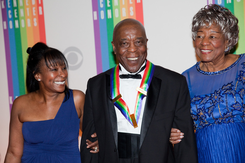 . Blues musician Buddy Guy (C) and guests arrive at the 2012 Kennedy Center Honorees held at the Kennedy Center Hall of States in Washington, DC, Sunday, December 2, 2012. AFP PHOTO / Drew ANGERERDrew Angerer/AFP/Getty Images