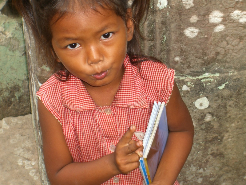 Girl Selling Postcards at Banteay Kdei - Angkor, Cambodia