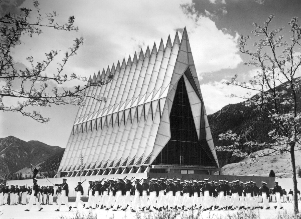 . Striking contemporary architecture in a beautiful setting makes the Air Force Academy a popular attraction. The Academy is less than an hour\'s drive from Denver. Credit: Denver Metro Convention & Visitors Bureau