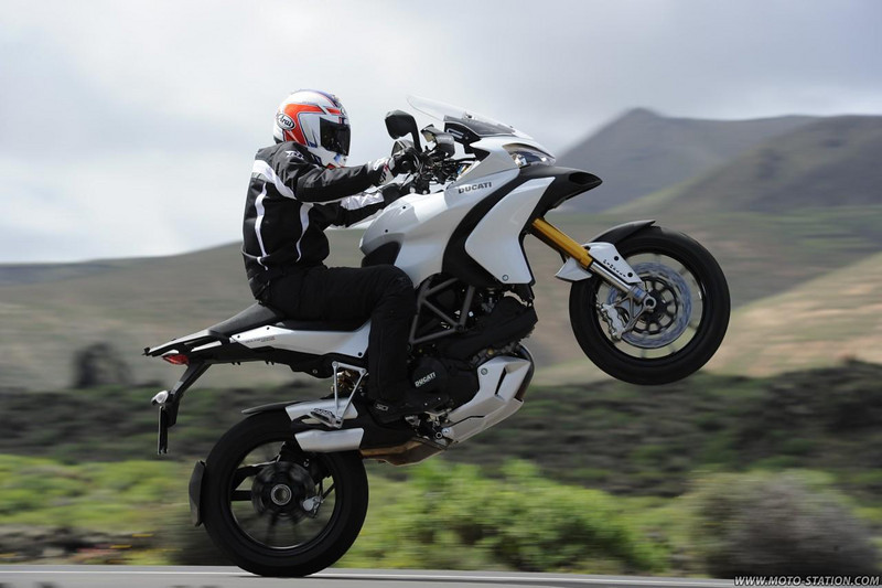 Ducati Multistrada 1200 wheelie - front end well and truly hoisted :-)