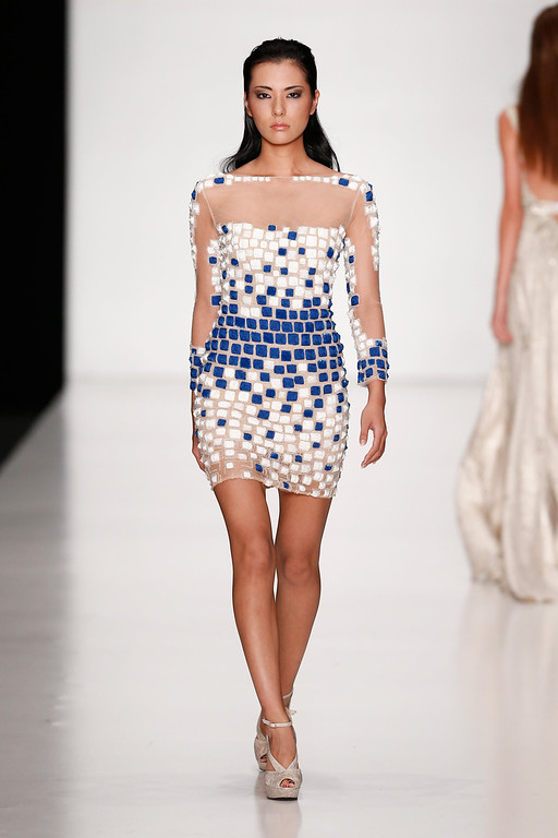 . Miss Japan Yukimi Matsuo walks the runway at the Tony Ward By Atelier Crocus Couture show during Mercedes-Benz Fashion Week Russia S/S 2014 on October 26, 2013 in Moscow, Russia.  (Photo by Andreas Rentz/Getty Images for Mercedes-Benz Fashion Week Russia)