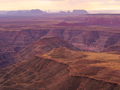 Looking over Goosenecks State Park, Utah and into Monument Valley, Arizona