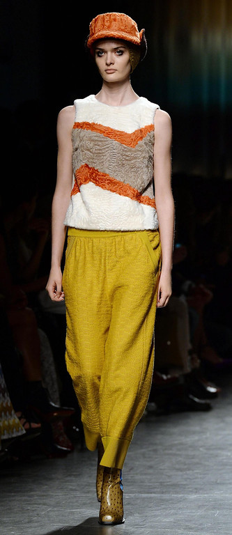 . A model presents a creation from the Fall/Winter 2014/2015 Women\'s collection by Italian designer Angela Missoni for Missoni during the Milan Fashion Week, in Milan, Italy, 23 February 2014. The Milano Moda Donna runs from 19 to 24 February.  EPA/DANIEL DAL ZENNARO