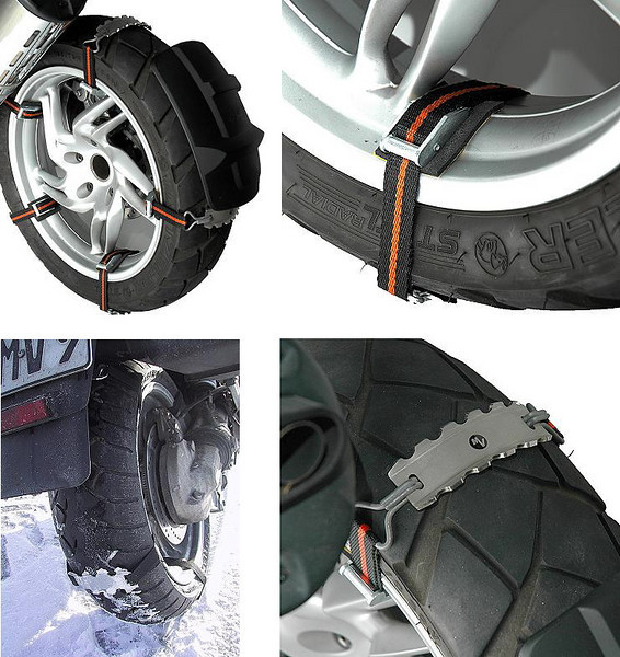 Biking equivalent of snow chains - MV Snow Claws Set - Snow Chains for Motorcycles  For the more determined rider!!!! http://www.mv-motorrad.de/lshop,showdetail,17638,e,1234167744-17775,001.0012,10107,,Tshowrub--001.0012,.htm