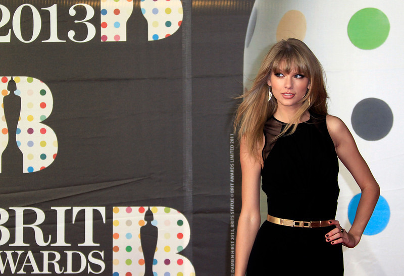 . Taylor Swift seen arriving at the BRIT Awards 2013 at the o2 Arena in London on Wednesday, Feb. 20, 2013. (Photo by Joel Ryan/Invision/AP)