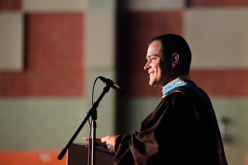 . Principal Jose Navarro speaks to graduates at the Cesar Chavez Learning Academies Social Justice Humanitas Academy graduation in San Fernando, Wednesday, June 5, 2013. (Michael Owen Baker/Staff Photographer)