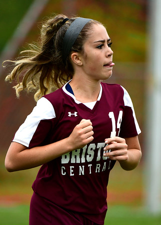 9/7/2018 Mike Orazzi | Staff Bristol Central's Erika Santilli (14) during Friday's soccer at BC.