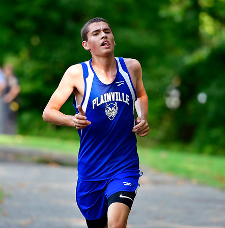 9/19/2018 Mike Orazzi | Staff Plainville's Cole McNamara during Wednesday's boys cross country meet between Bristol Central, Platt and Plainville at Rockwell Park in Bristol on Wednesday.