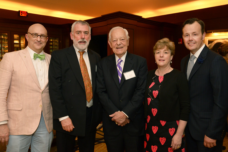 Curator of Special Collections Curt DiCamillo, Silver Benefactor Paul Roberts of Freeman's, honoree Bob Schieffer, and Stephanie Donaldson and Kelly Wright of Freeman's.