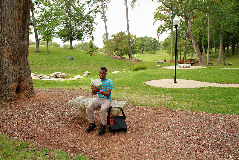 Photo of Freshman De'Jarrell (DJ); intended Communications Studies Major.  General photos around campus; Fall 2011.