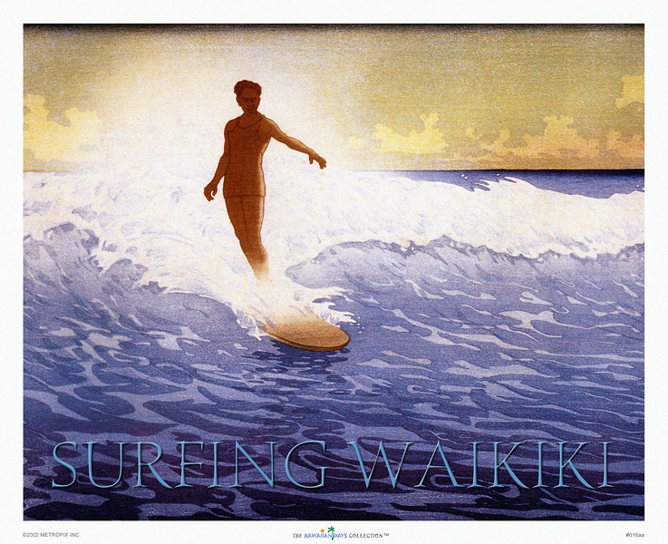 "016: 'Surfing Waikiki: The Duke.' - An old Bartlett woodblock print in Japanese hanga style with an image of the famous Waikiki surf and some great surfing by Hawaii's 'Ambassador of Aloha' Duke Kahanamoku aka ""Da Duke"" surfing on his longboard."