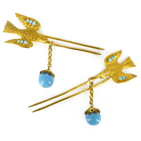 Antique Victorian Bridal Gold Filled Swallow Turquoise Hair Bird Pieces