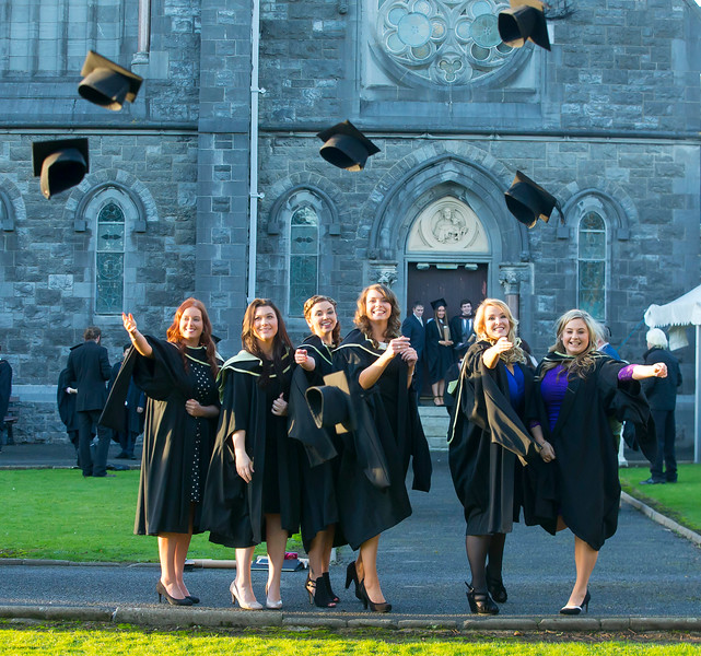 06/01/2015. FREE TO USE IMAGE. WIT (Waterford Institute of Technology) Conferring, Pictured are Leanne Deleaney, Tipperary, Kelly Dunford Waterford, Claire Williams, Kilkenny, Natalie Power, Wexford, Jillian O'Dwyer, Kilkenny, Carol Tomkins, Carlow who graduated Master of Business (Hons). Picture: Patrick Browne