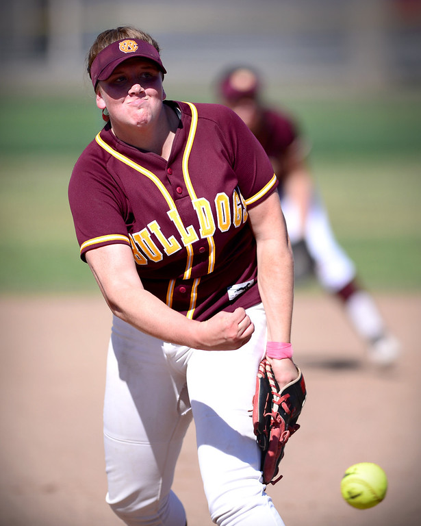 . West Covina\'s Maddy Tickey (17) pitches to Los Altos  Thursday, May 15, 2014 at West Covina High School. Los Altos won 4-3. (Photo by Sarah Reingewirtz/Pasadena Star-News)