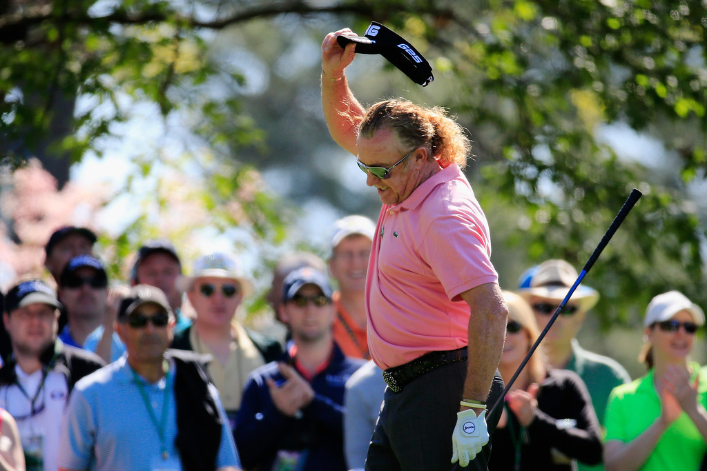 . Miguel Angel Jimenez of Spain reacts to his tee shot on the fourth hole during the first round of the 2014 Masters Tournament at Augusta National Golf Club on April 10, 2014 in Augusta, Georgia.  (Photo by Rob Carr/Getty Images)