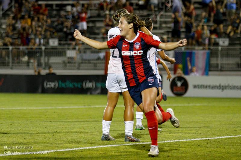 Washington Spirit midfielder Jordan DiBiasi (4) celebrates her goal at Maureen Hendricks Field in Boyds, MD, on July 20, 2019.