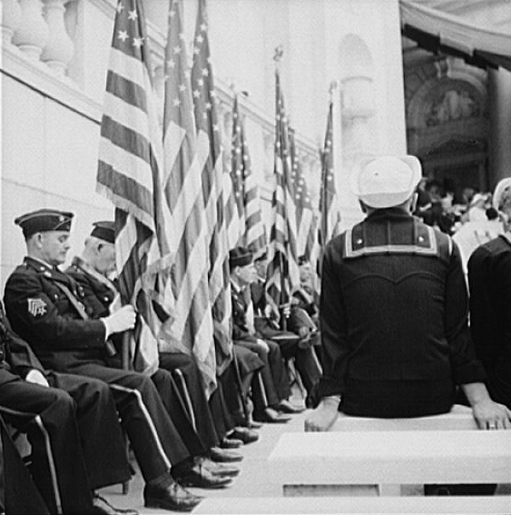 . Arlington Cemetery, Arlington, Virginia. Stars and Stripes at the Memorial Day services. Esther Bubley, Photographer.  Courtesy the Library of Congress