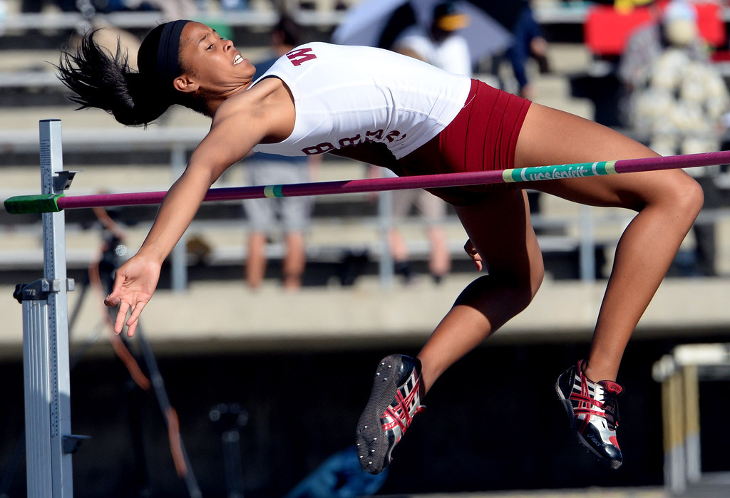 . Long Beach Wilson\'s Kaelin Davis competes in the high jump during the CIF-SS Masters Track and Field meet at Falcon Field on the campus of Cerritos College in Norwalk, Calif., on Friday, May 30, 2014.   (Keith Birmingham/Pasadena Star-News)