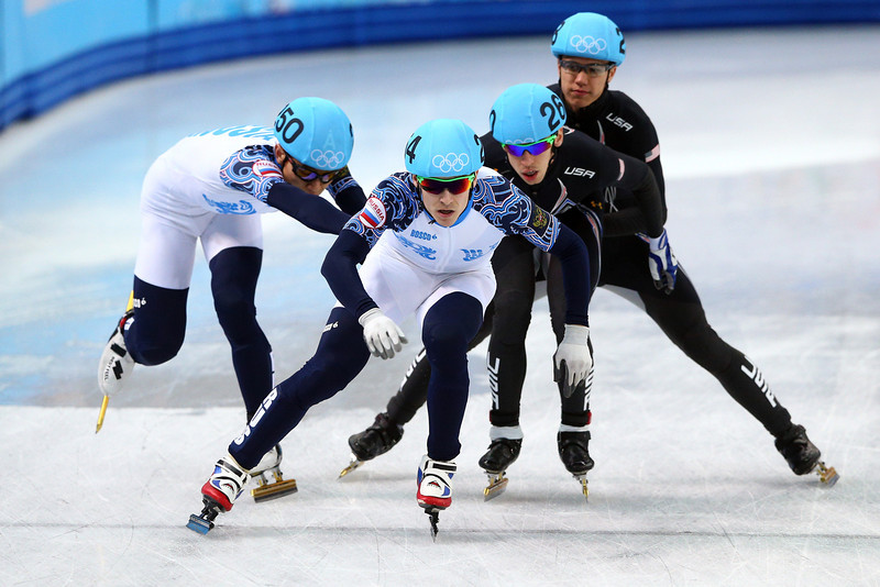 . Short track speed skaters compete in the Short Track Men\'s 5000m Relay A on day fourteen of the 2014 Sochi Winter Olympics at Iceberg Skating Palace on February 21, 2014 in Sochi, Russia.  (Photo by Paul Gilham/Getty Images)