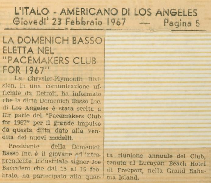 1967, Italian Newspaper Blurb