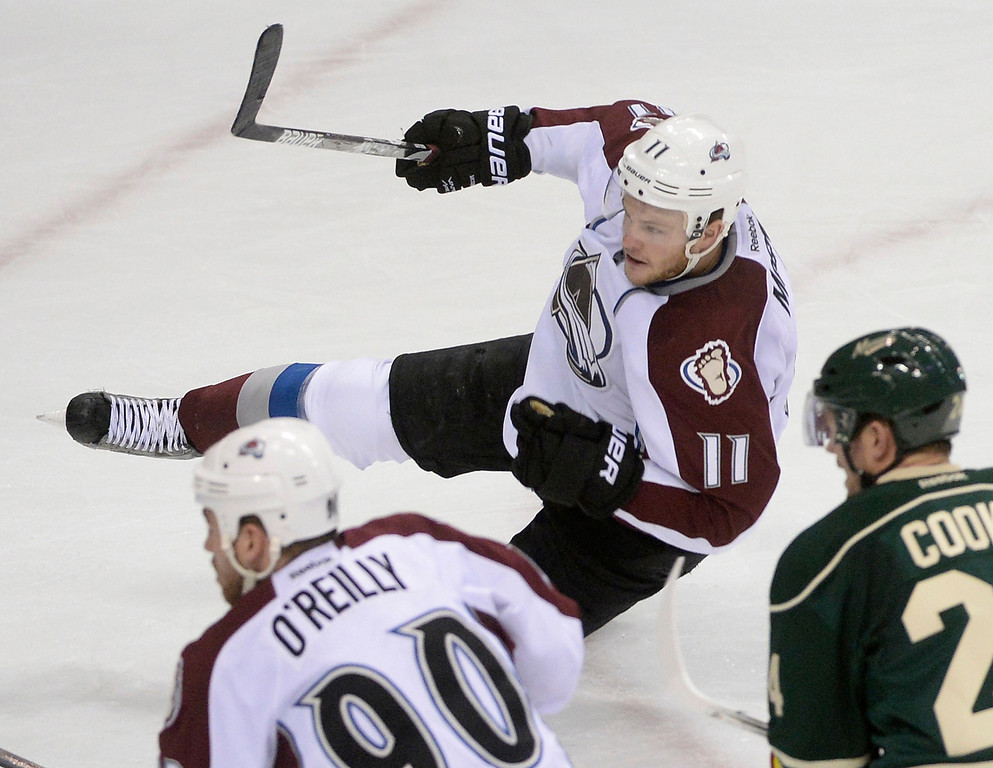 . Colorado wing Jamie McGinn fired a shot on net in the second period. The Minnesota Wild hosted the Colorado Avalanche at the Xcel Energy Center in St. Paul Monday night, April 21, 2014. (Photo by Karl Gehring/The Denver Post)