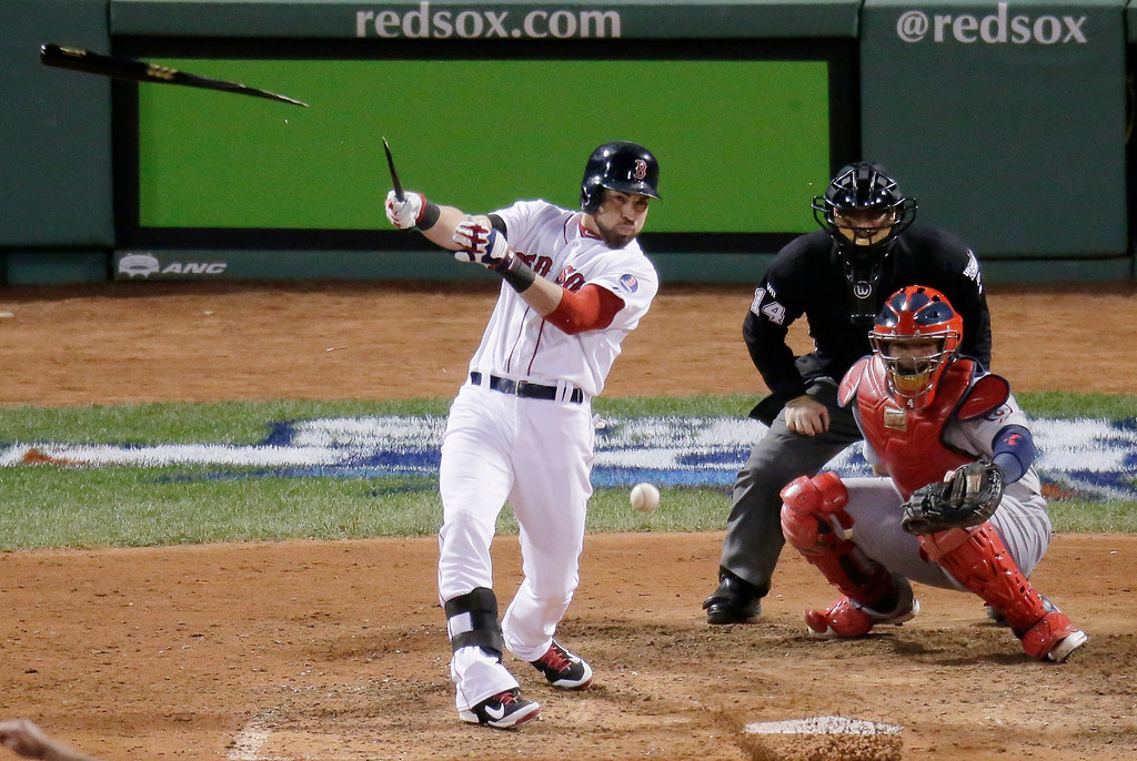 . Boston Red Sox\'s Jacoby Ellsbury breaks his bat as he hits during the eighth inning of Game 2 of baseball\'s World Series against the St. Louis Cardinals Thursday, Oct. 24, 2013, in Boston. (AP Photo/Charlie Riedel)