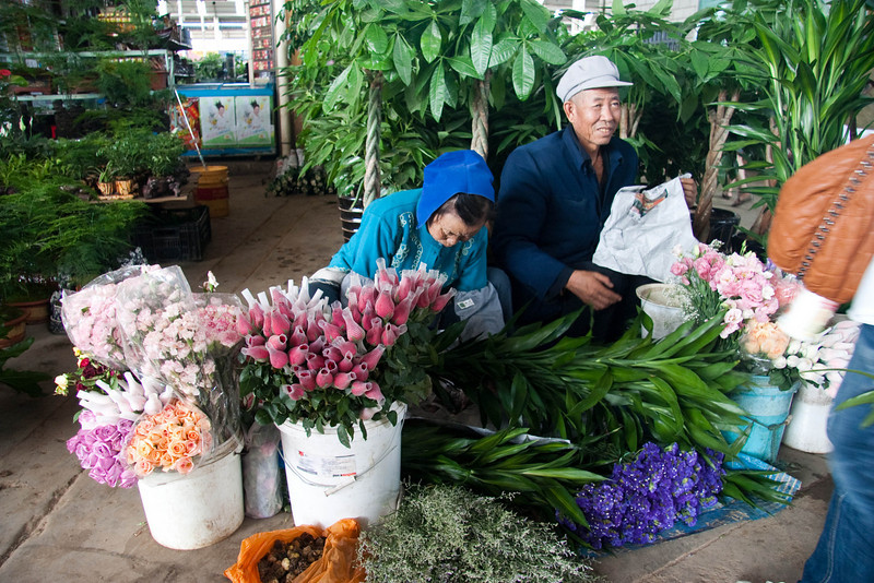 Various flowers for sale.