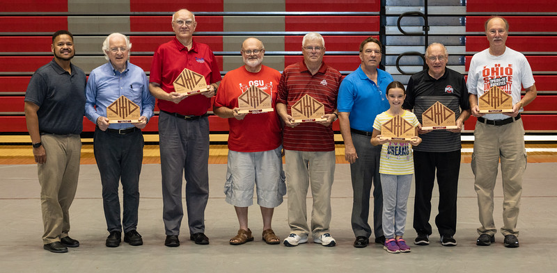 TBDBITL Alumni Club President Derrick Mills and the seven alums who marched in all 50 Reunions