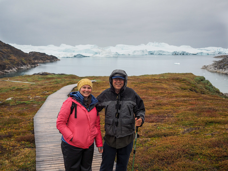 Amanda and Dad hiking in Ilulissat