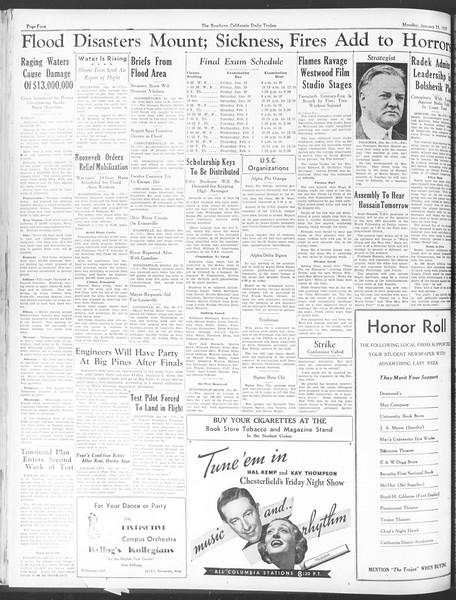 Daily Trojan, Vol. 28, No. 73, January 25, 1937