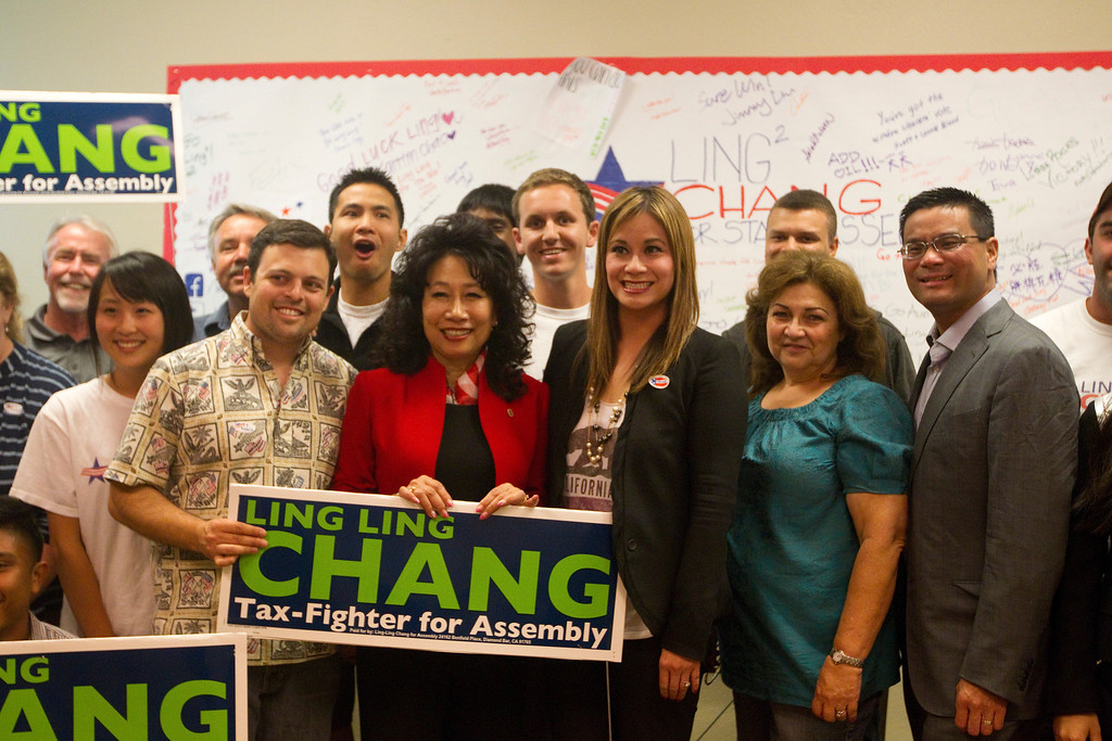 . Ling-Ling Chang poses with her volunteers and supporters at her campaign headquarters in Brea, Tuesday, June 3, 2014. (Photo by Robert Huskey)