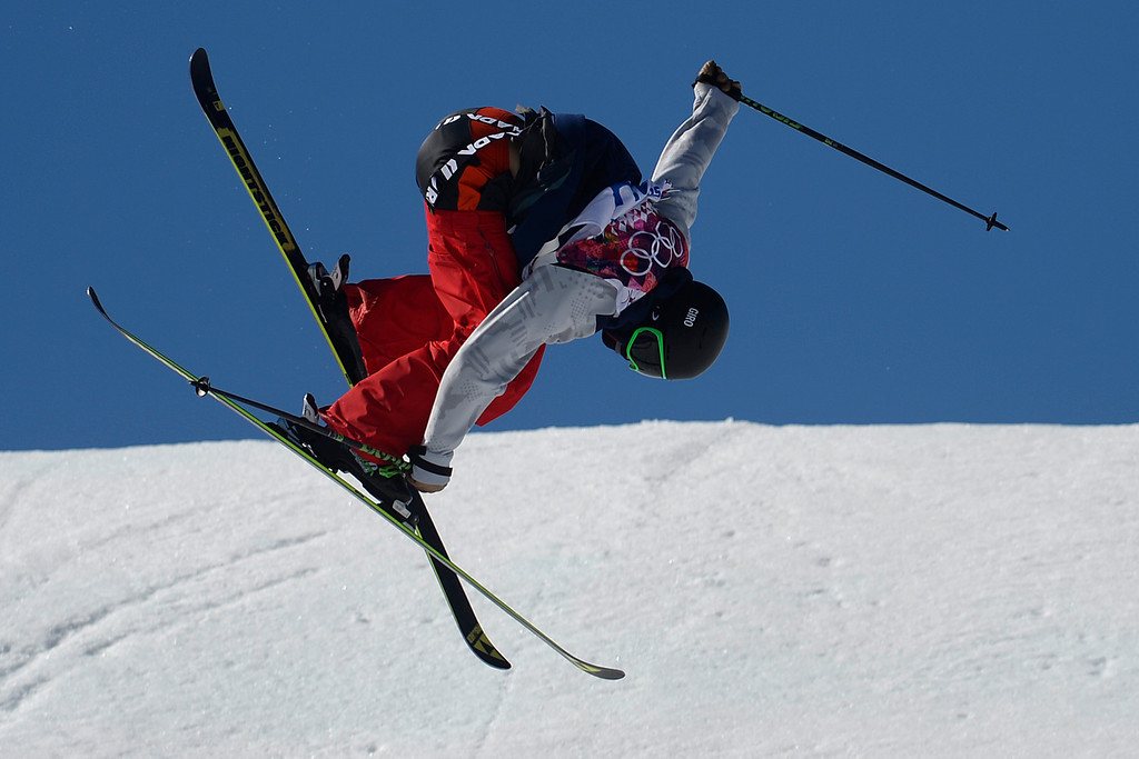 . Gold medalist Joss Christensen makes his final jump during the men\'s ski slopestyle final at the Rosa Khutor Extreme Park. Sochi 2014 Winter Olympics on Thursday, February 13, 2014. (Photo by AAron Ontiveroz/The Denver Post)