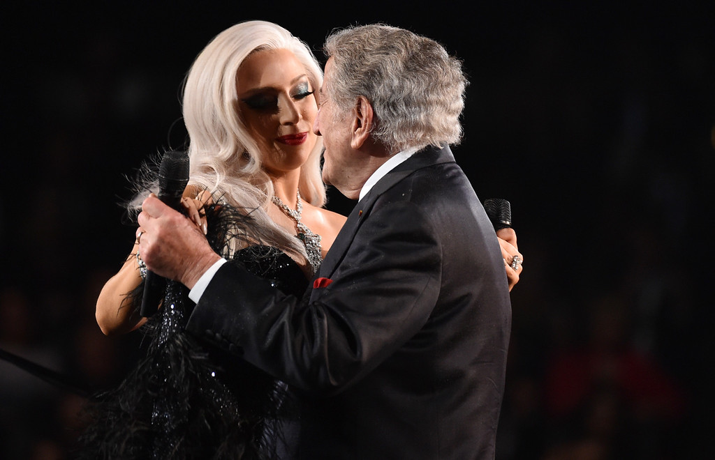 . Lady Gaga, left, and Tony Bennett perform at the 57th annual Grammy Awards on Sunday, Feb. 8, 2015, in Los Angeles. (Photo by John Shearer/Invision/AP)