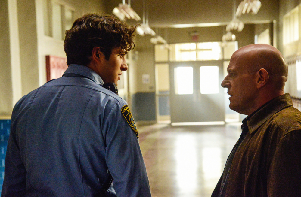 . UNDER THE DOME, Monday, July 7 (10:00-11:00 PM, ET/PT) on the CBS Television Network. Pictured (L-R) Dean Norris  as James Rennie and  Alexander Koch as Junior Rennie  (Photo: Brownie Harris/CBS)