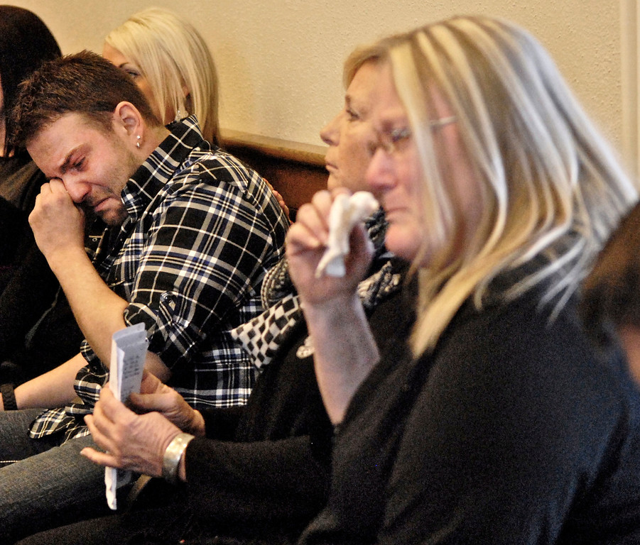 . Jeff Forman/JForman@News-Herald.com Erik Putzbach, left, Kelly Rice and Lori Bunch show their emotions as Nathaniel Brown is re-sentenced in Lake County Common Pleas Court March 3 for the 2011 murder of William Andrew Fayne Putzbach. Erik Putzbach is William Andrew\'s brother. Rice is Erik\'s mother and Bunch is William Andrew\'s aunt.