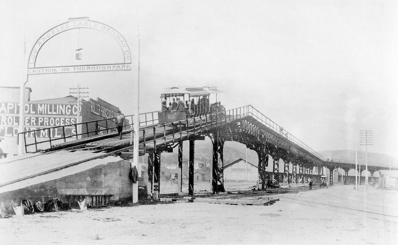 Streetcar coming over the south end of the Los Angeles Cable Railroad viaduct, ca.1889