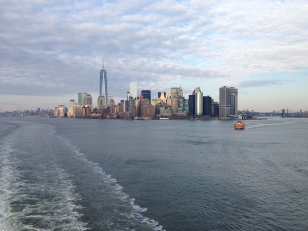 Mr. and Mrs. Garrity: View of New York City (on the way to the Caribbean)