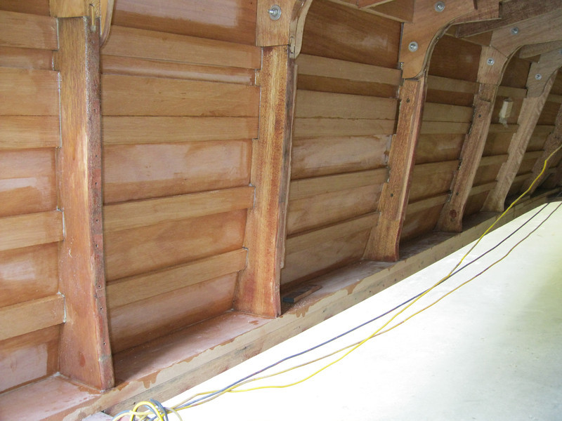 Inside starboard view of plywood installed.