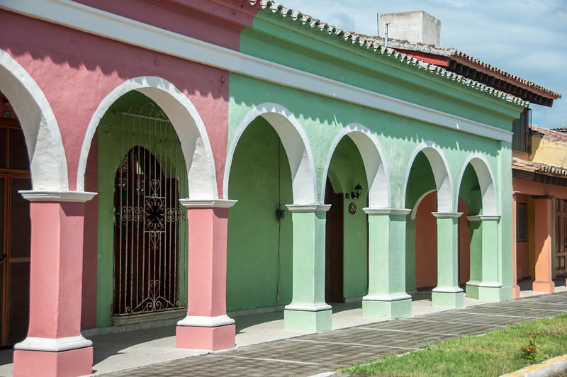 Colorful building in Tlacotalpan, Mexico