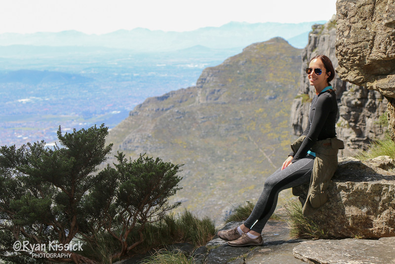 Juliana taking a short break from climbing Table Mountain to admire the view