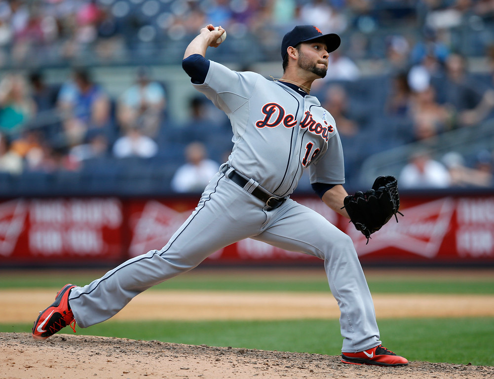 . Detroit Tigers starting pitcher Anibal Sanchez winds up in the seventh inning of a baseball game against the New York Yankees at Yankee Stadium in New York, Sunday, June 21, 2015.  (AP Photo/Kathy Willens)