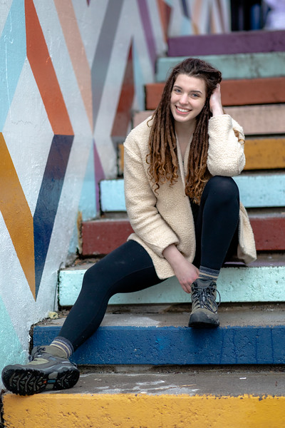 Photoshoot with Sarah.  Bowring's parking garage and the tunnel / stairs.