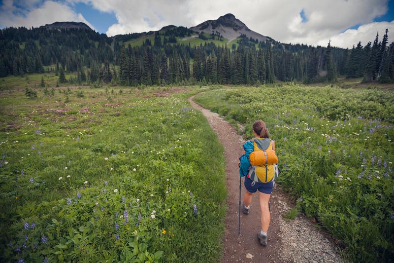 Hiking through Taylor Meadows in Garibaldi Provincial Park, British Columbia, Canada.