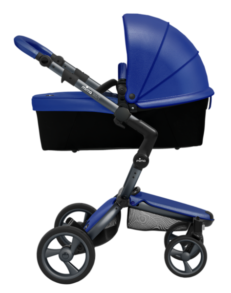 Mima_Xari_Product_Shot_Royal_Blue_Graphite_Chassis_Side_View_Carrycot.png