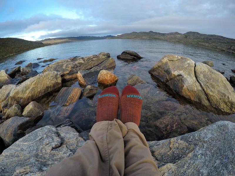 Wearing Wigwam socks while hiking in Greenland - Best Socks for Hiking